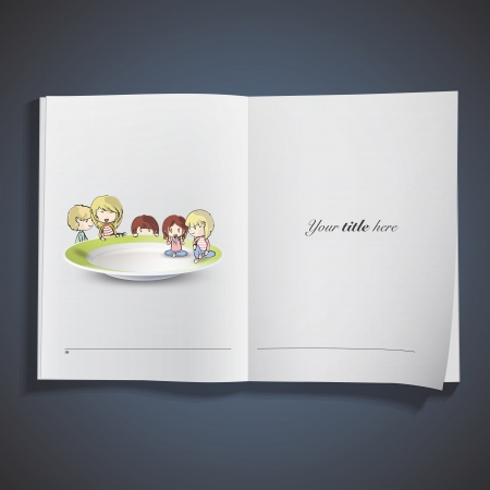 Kids on plate inside a book. Vector design Stock Vector - 19558982