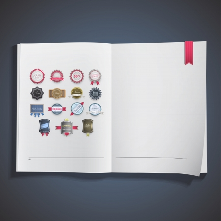 Set of labels inside a book. Vector design Stock Vector - 19558986