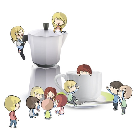 playing with spoon: Kids around cuo of coffee, and coffee pot. Vector design  Illustration