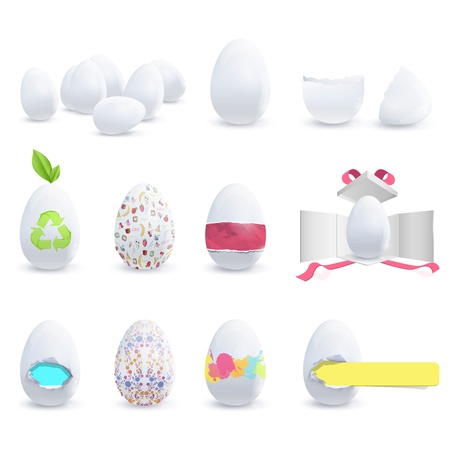 Colecction of decorated eggs. Vector deisgn.  Vector