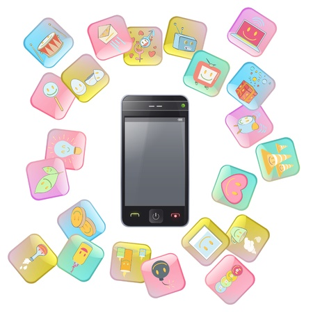 Gift phone with several icons. Isolated vector background design. Stock Vector - 19559019