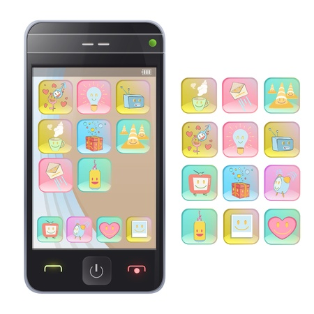 Gift phone with several icons. Isolated vector background design. Stock Vector - 19559020
