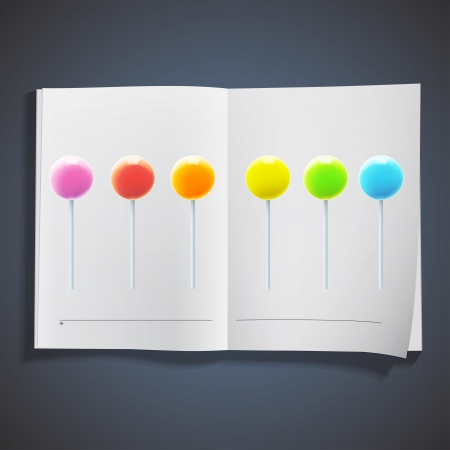 Collection of colorful lollipops inside a book. Vector design Stock Vector - 19559023