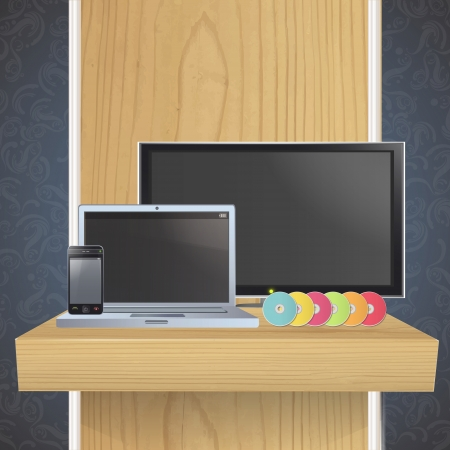 Set of TV, computer,CD and phone on shelf. Vector design. Stock Vector - 19559024