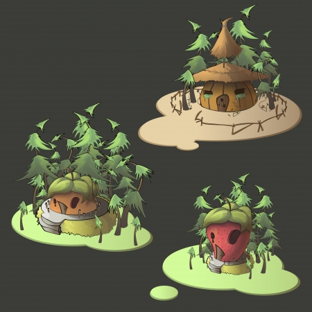 Fruit houses on isolated background. Vector illustration. Vector