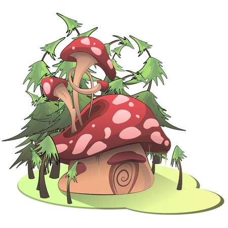 Mushroom house on white background. Vector illustration. Illustration