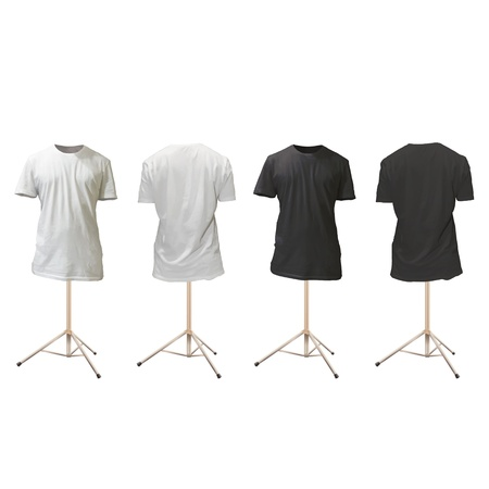 Empty black and white shirts design. Realistic vector illustration. Illustration
