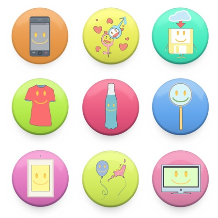 Collection of colorful badges with concept icon inside. Vector design.  Vector