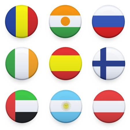 bandera argentina: Diseño Nacional botón. Diseño vectorial.
