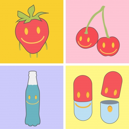 Set of cute icons. Strawberry, bottle, pill, and fruit. Stock Vector - 19745370