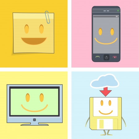 Set of cute icons. Postit, phone, tv, and diskette Stock Vector - 19745371