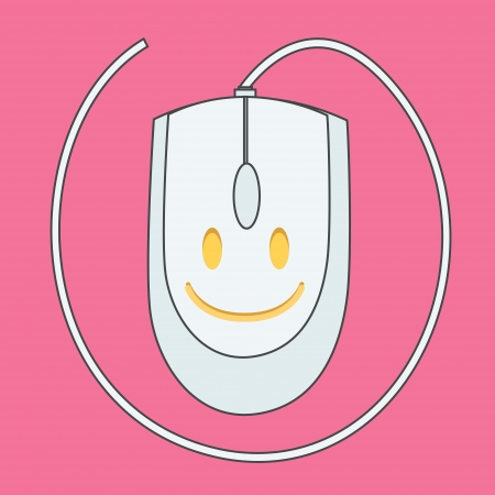 clique: Computer mouse on pink background. Vector design.