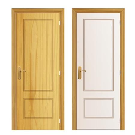 wood door on isolated background. Vector design. Stock Vector - 19745404