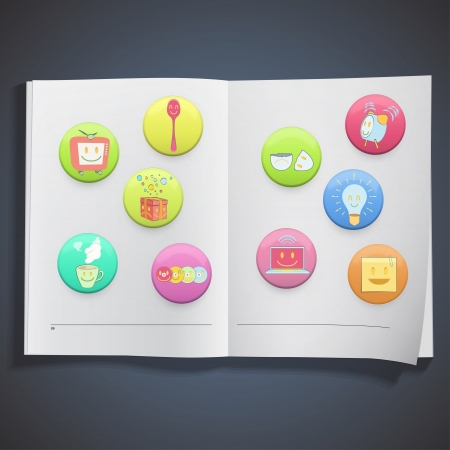 Collection of colorful badges with concept icon inside a book. Vector design. Stock Vector - 19745408