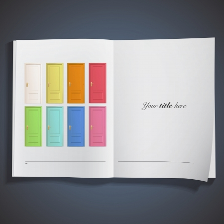 Collection of colorful doors inside a book. Vector design. Stock Vector - 19745406