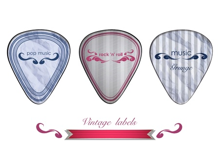 Plectrums labels on white background  Vector design  Vector