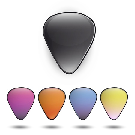 ribbed slab: Colorful plectrums on white background  Vector design  Illustration