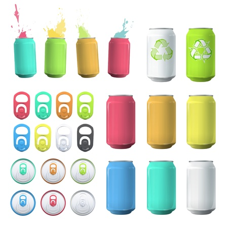 drink can: Set of cans and elements. Vector design.