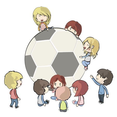 kids around ball Stock Vector - 19745446