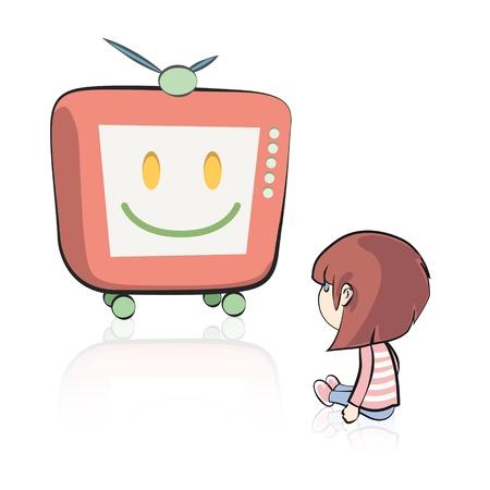 Muchacha que ve la TV en el fondo aislado. Diseño vectorial.
