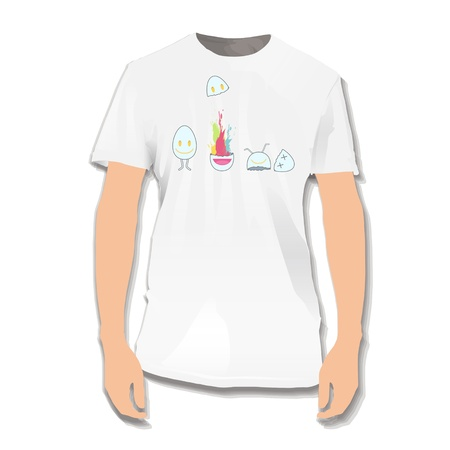 Cute eggs printed on white shirt.  design. Vector