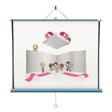 projector screen: I bambini aprono intorno scatola bianca all'interno di un schermo del proiettore. design