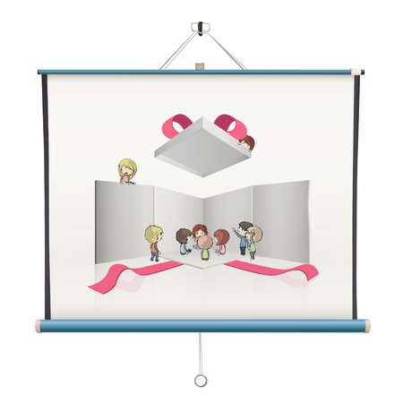 Kids around open white box inside a projector screen. design Vector