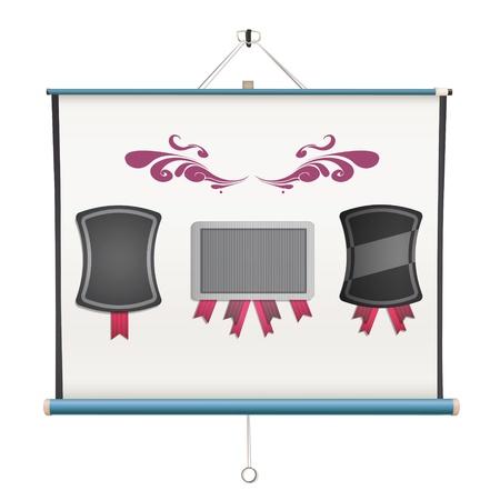 projector screen: Set di etichette all'interno di un schermo del proiettore. progettazione
