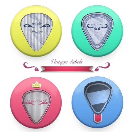 Plectrums labels on button. design. Vector