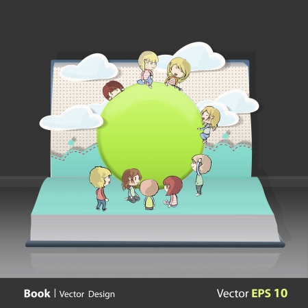 Many children around a web button on book.  design.