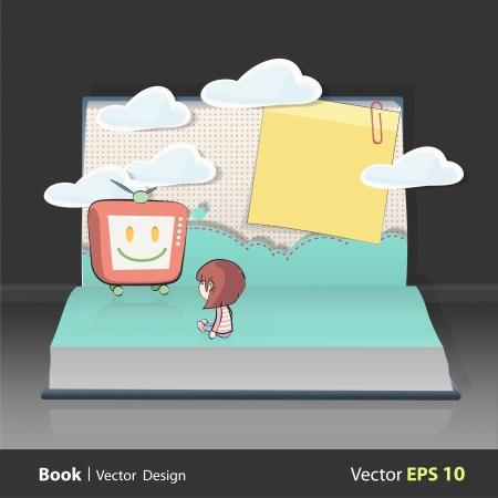 Girl watching TV on book. design. Stock Vector - 20198649