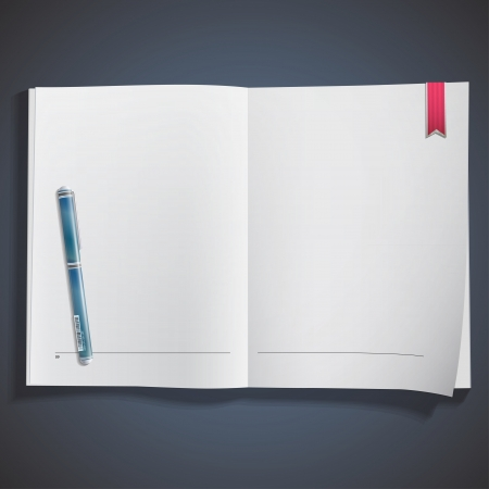 blue pen: Realistic blue pen on white empty book. illustration.