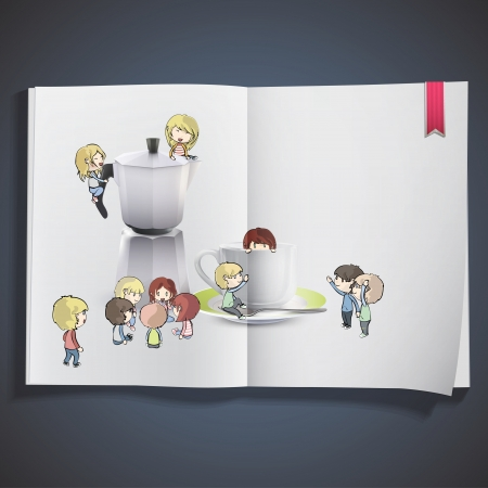 Kids around cup of coffee, and coffee pot.  design Vector