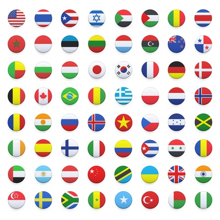 Collection of flag button design  design  Stock Photo - 20198758