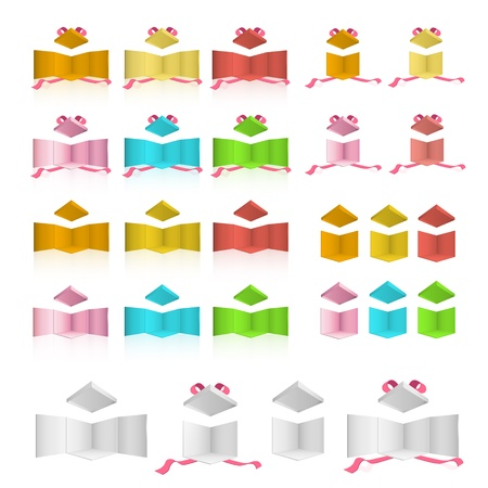 Open colorful box with red ribbons on isolated background  design  Vector