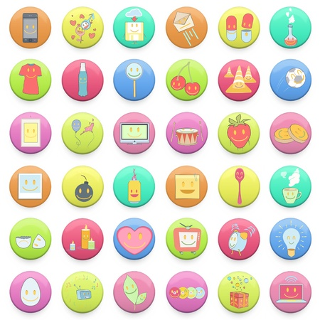 Collection of colorful badges with concept icon inside  design   Vector