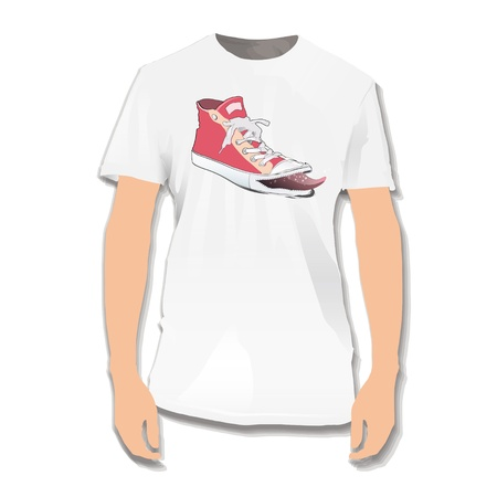 Fashion red shoe printed on white shirt. design.  Vector