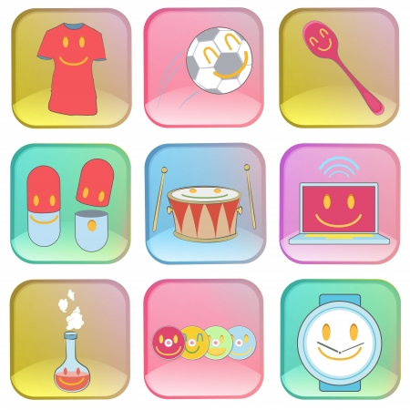 Collection of icons on colorful buttons. Stock Vector - 20352961