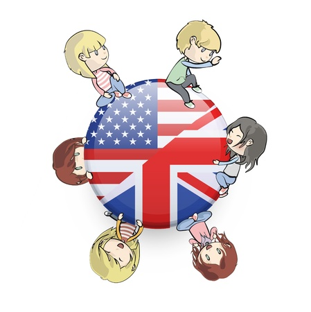 Kids holding English icon.  Vector