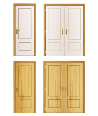 Set of wood door on isolated background.  Vector