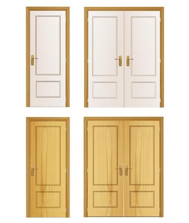 Set of wood door on isolated background. Stock Vector - 20352972
