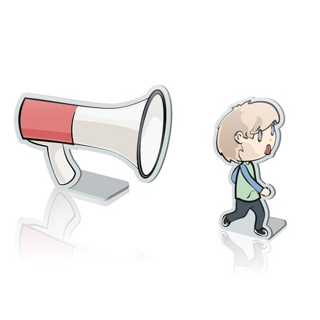 Young kid shouting with megaphone. Vector illustration. Vector