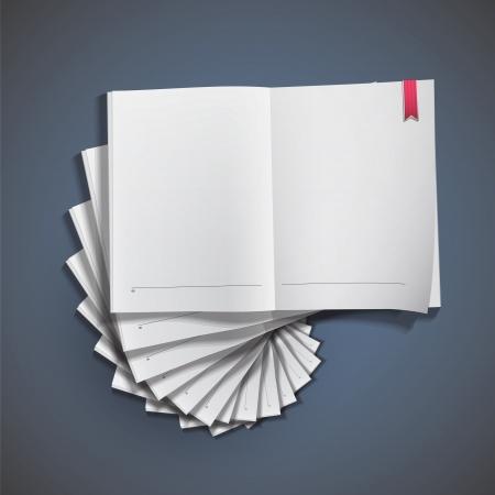 Crowd of empty white books. Vector design. Stock Vector - 20365519