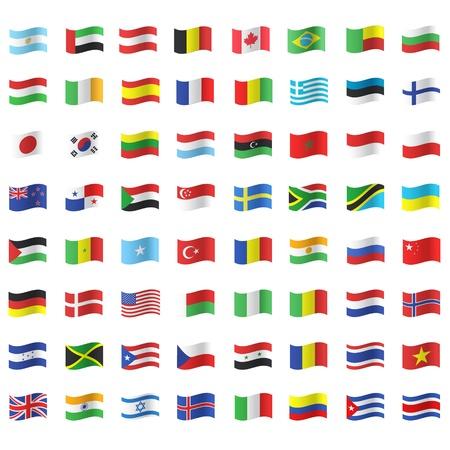 continente americano: Colecci�n de banderas. Dise�o vectorial.