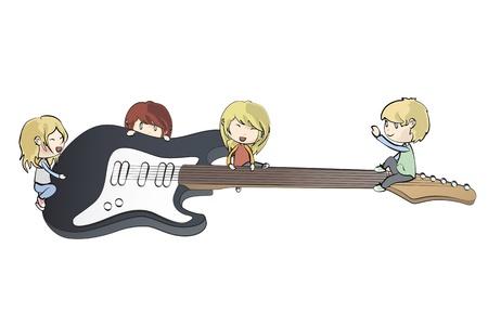 Kids holding guitar. Vector design. Stock Vector - 20365444