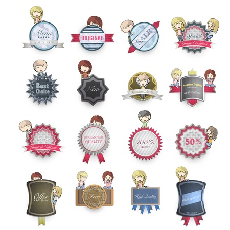 Collection of kids holding vintage labels. Vector design.  Stock Vector - 20365527