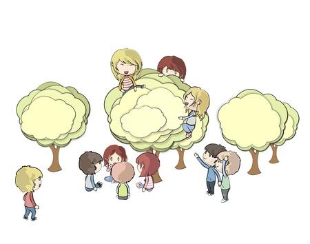 Kids holding tree on white background.  Stock Vector - 20365454