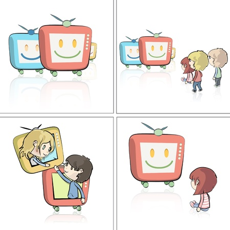 Set of illustrations about kids watching TV on isolated background. Vector design. Stock Vector - 20365455