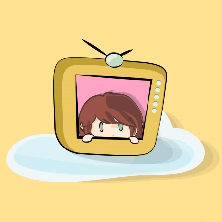 Girl inside TV on yellow background. Stock Vector - 20365425