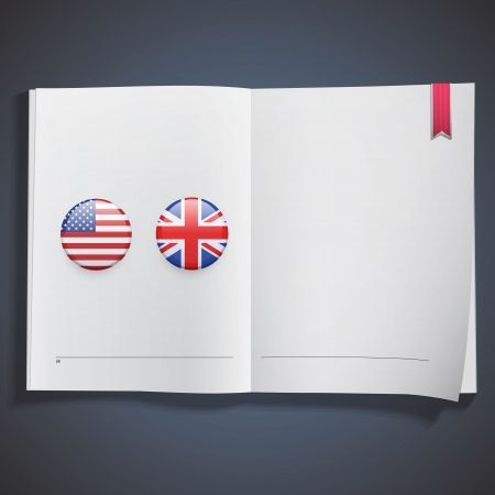 American and English icon printed on white book.  Vector